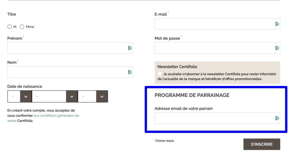code parrainage Centifolia